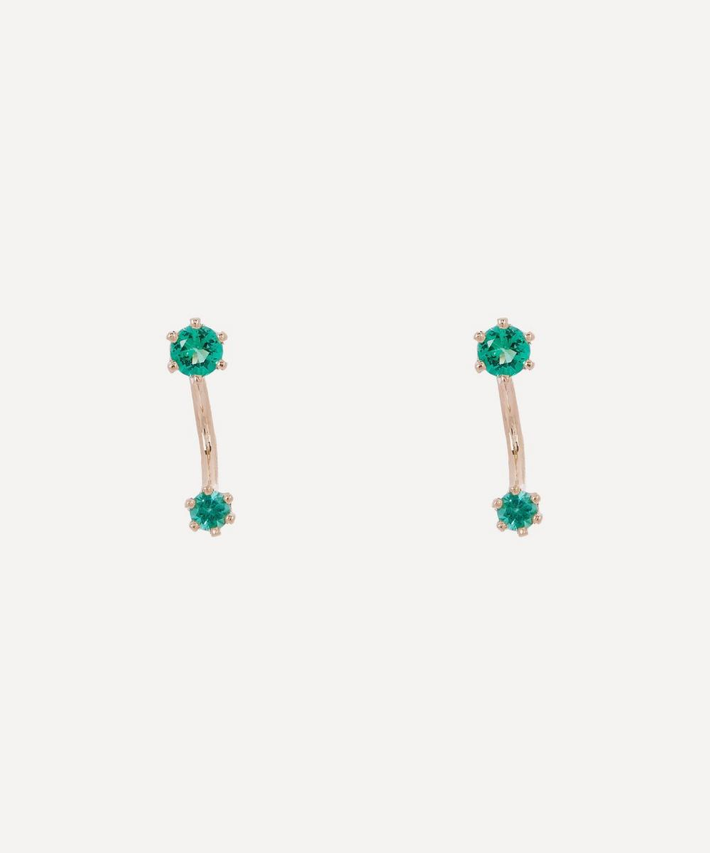 Satomi Kawakita - Gold Twin Emerald Stud Earrings