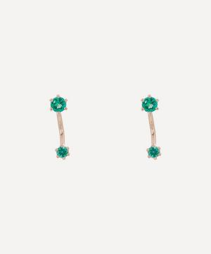 Gold Twin Emerald Stud Earrings