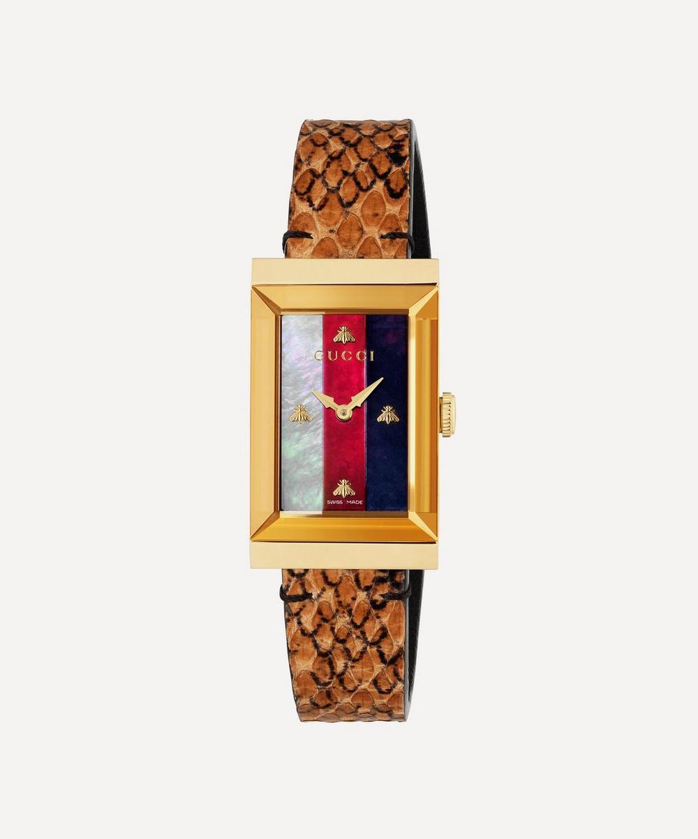 Gucci - G-Frame Snakeskin Strap Watch