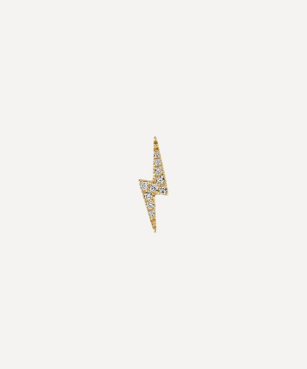 Maria Tash - Diamond Lightning Bolt Threaded Stud Earring