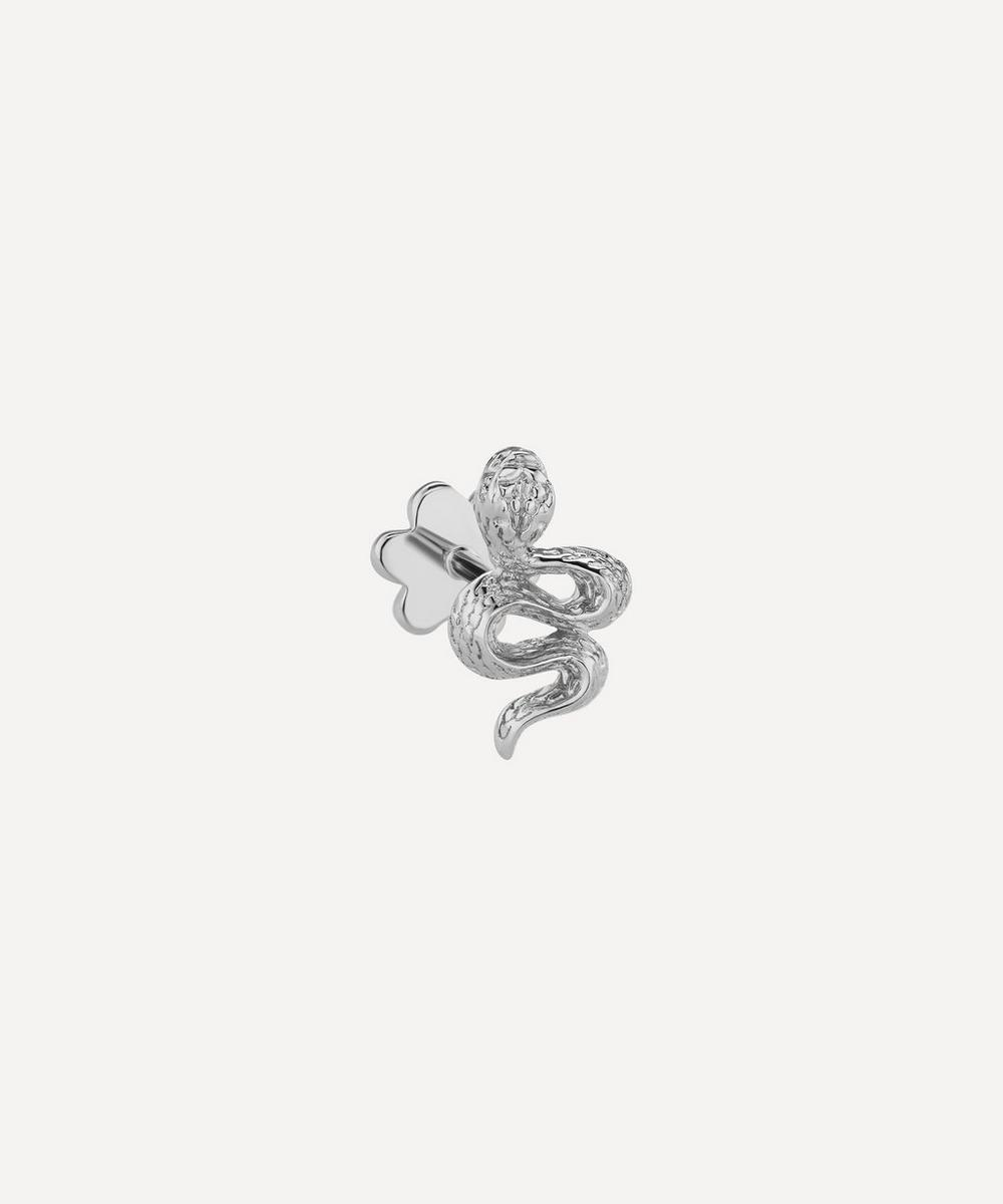 Maria Tash - Large Engraved Diamond Snake Threaded Stud Earring Left