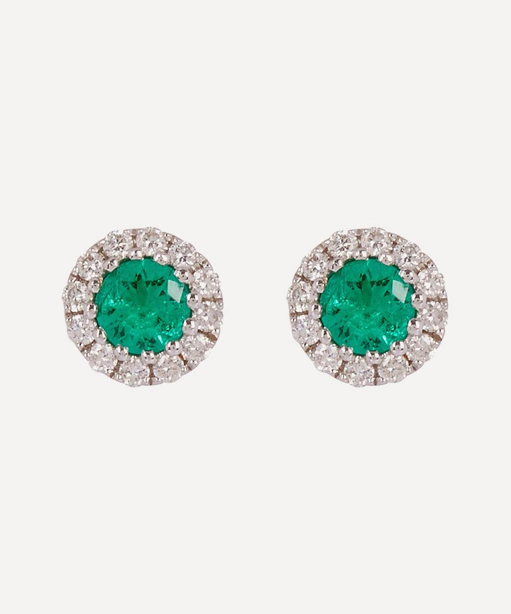Kojis - White Gold Emerald and Diamond Cluster Stud Earrings