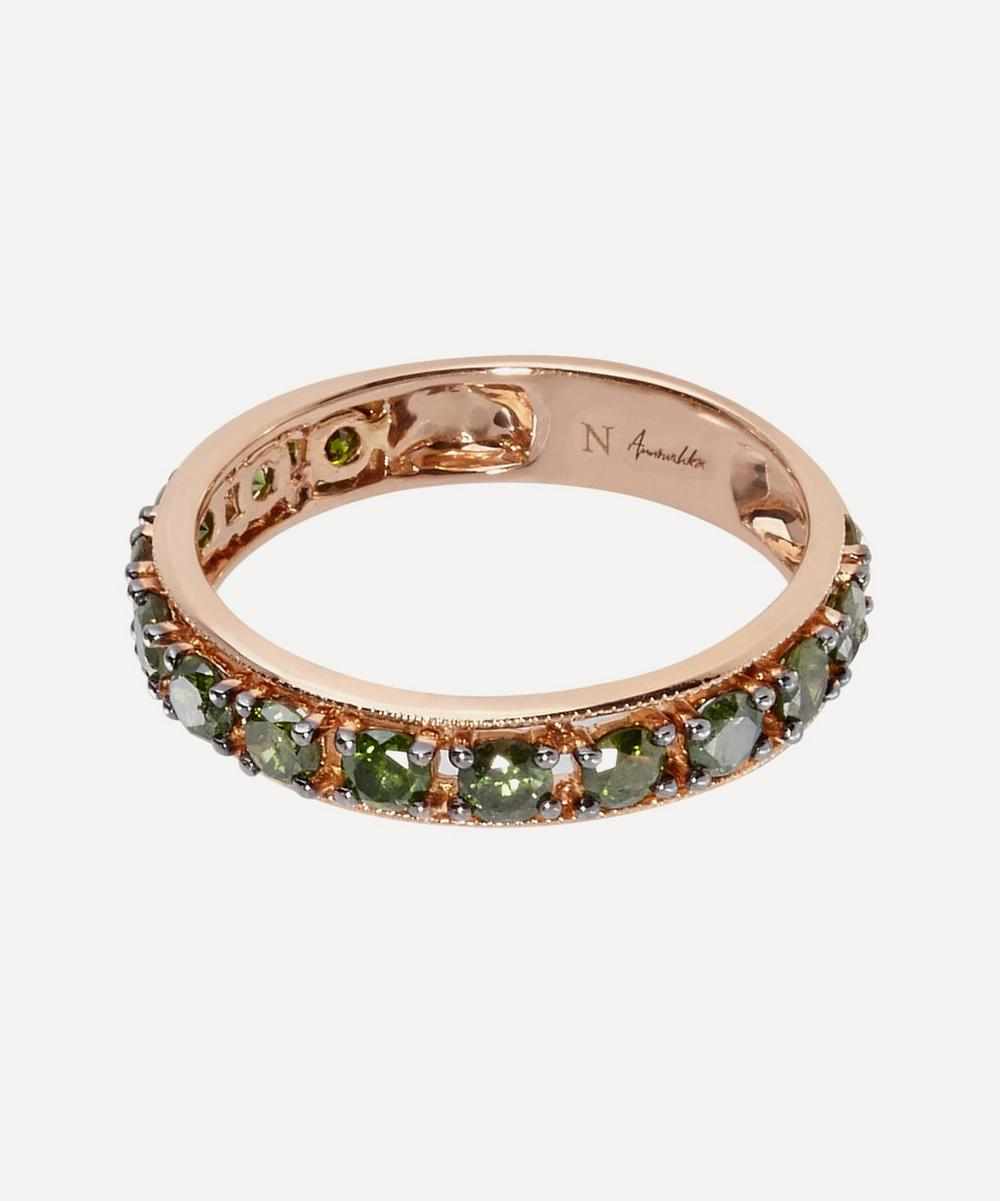 Annoushka - 18ct Rose Gold Dusty Diamonds Green Diamond Eternity Ring