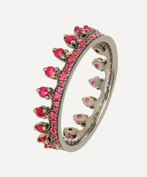18ct White Gold Ruby Crown Ring