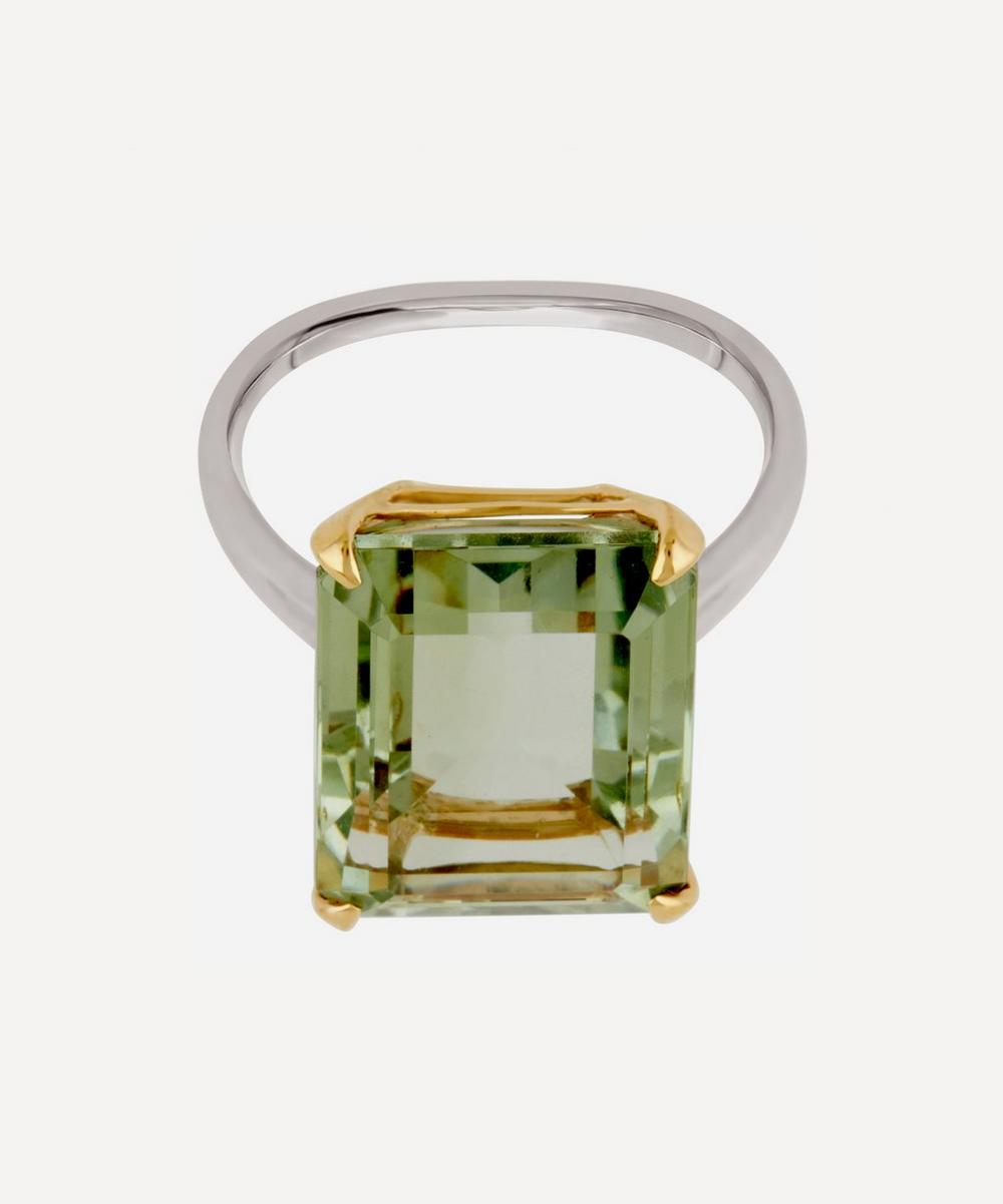 Dinny Hall - Silver and Gold Amica Green Amethyst Ring