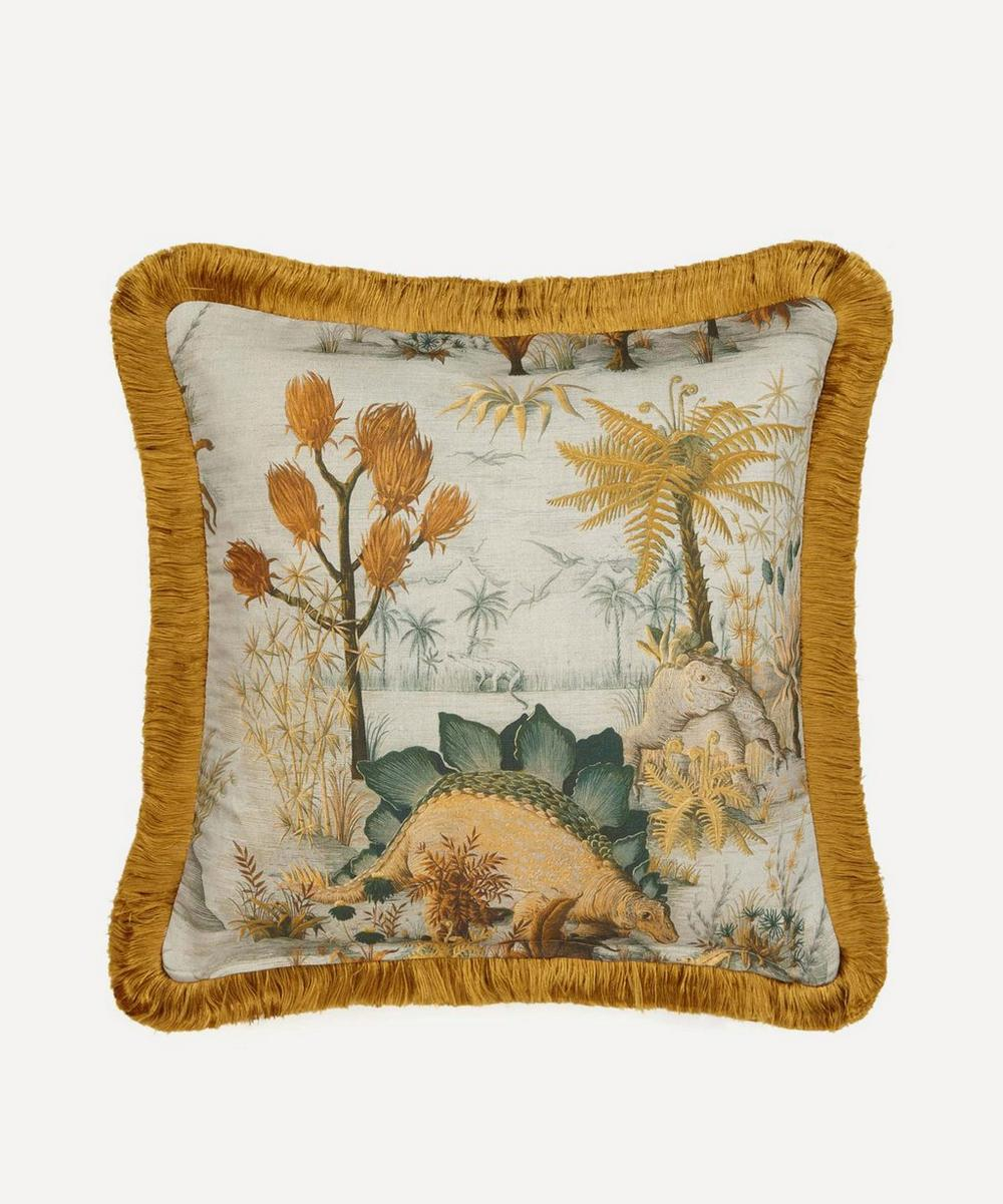 House of Hackney - Dinosauria Medium Fringed Cotton-Linen Cushion