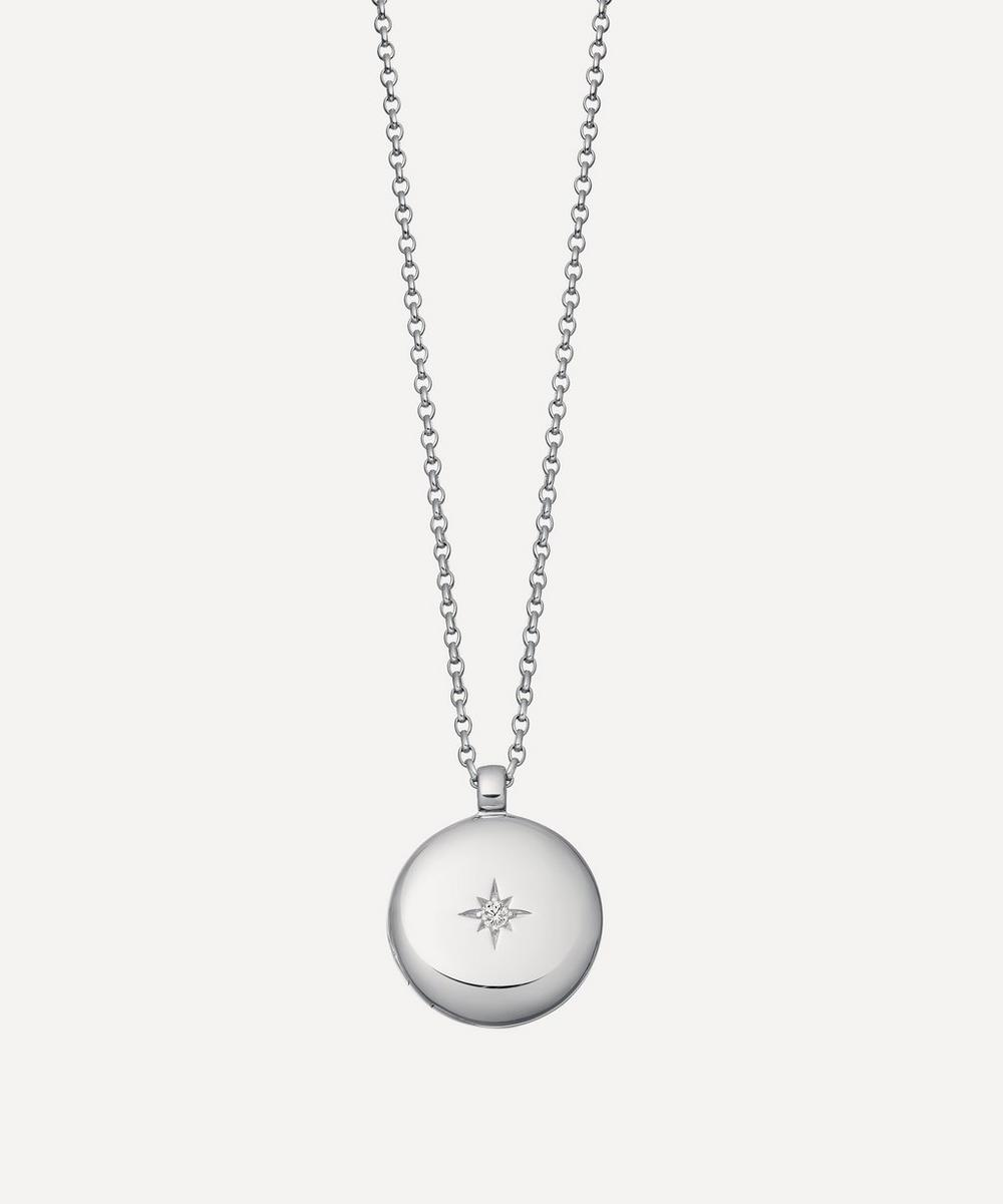Astley Clarke - Silver Contemporary Sapphire Medium Astley Locket Necklace