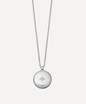 Silver Contemporary Sapphire Medium Astley Locket Necklace