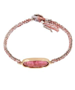 Gold Icicle Pink Tourmaline Silk Chain Bracelet