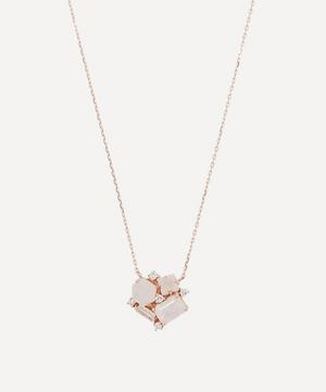 Rose Gold Rainbow Moonstone Diamond Cluster Necklace
