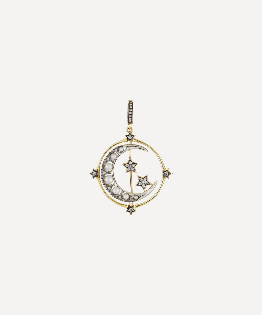 Annoushka - 18ct Gold Mythology Diamond and Pearl Spinning Moon Charm