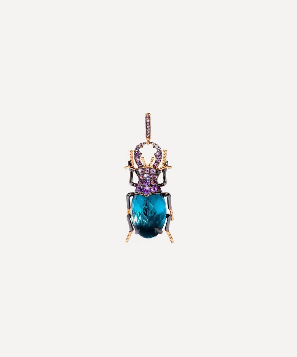 Annoushka - 18ct Rose Gold Mythology Blue Topaz Beetle Charm