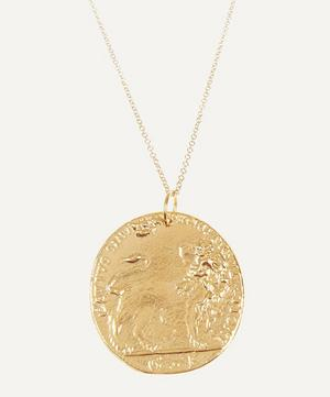 Gold-Plated Il Leone Medallion Necklace