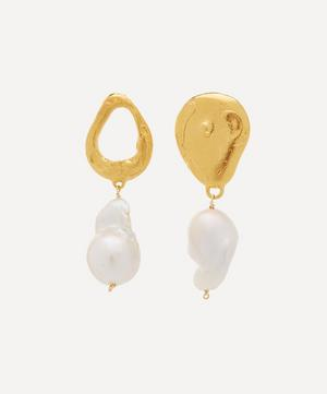 Gold-Plated Infernal Storm Pearl Drop Earrings