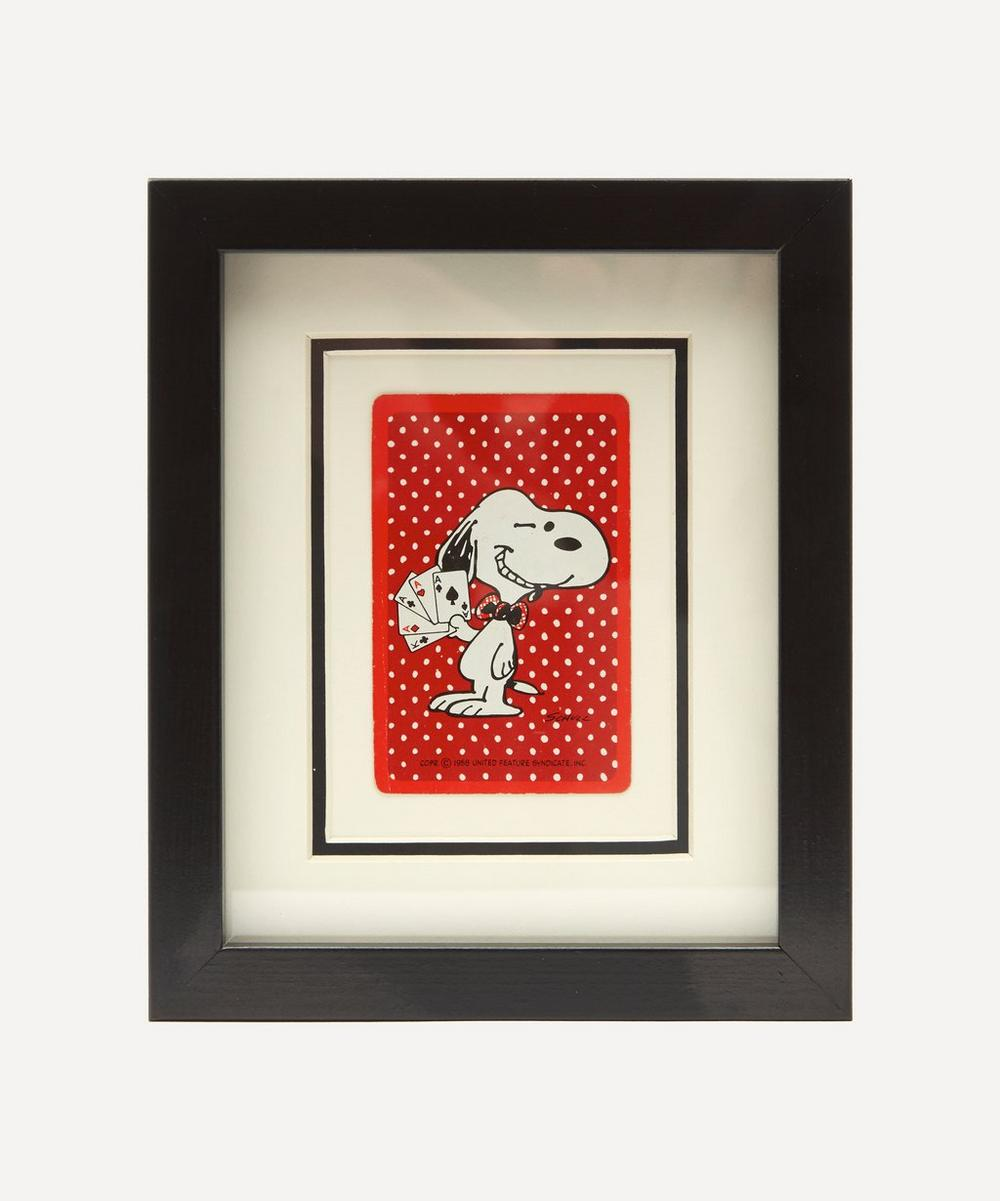Vintage Playing Cards - Snoopy Winking Vintage Framed Playing Card
