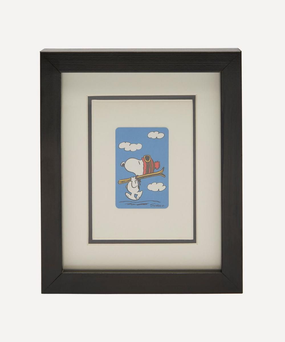 Vintage Playing Cards - Snoopy Skiing Vintage Framed Playing Card