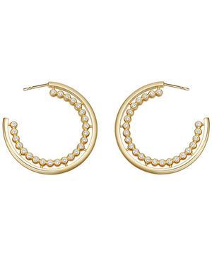 Gold Vermeil Stilla Arc White Sapphire Hoop Earrings