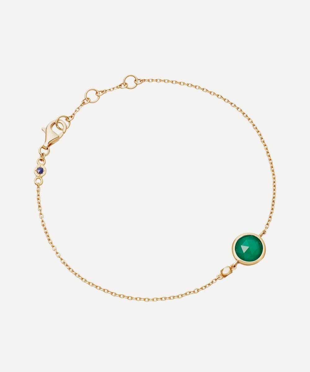 Astley Clarke - Gold Plated Vermeil Silver Stilla Green Onyx Fine Chain Bracelet