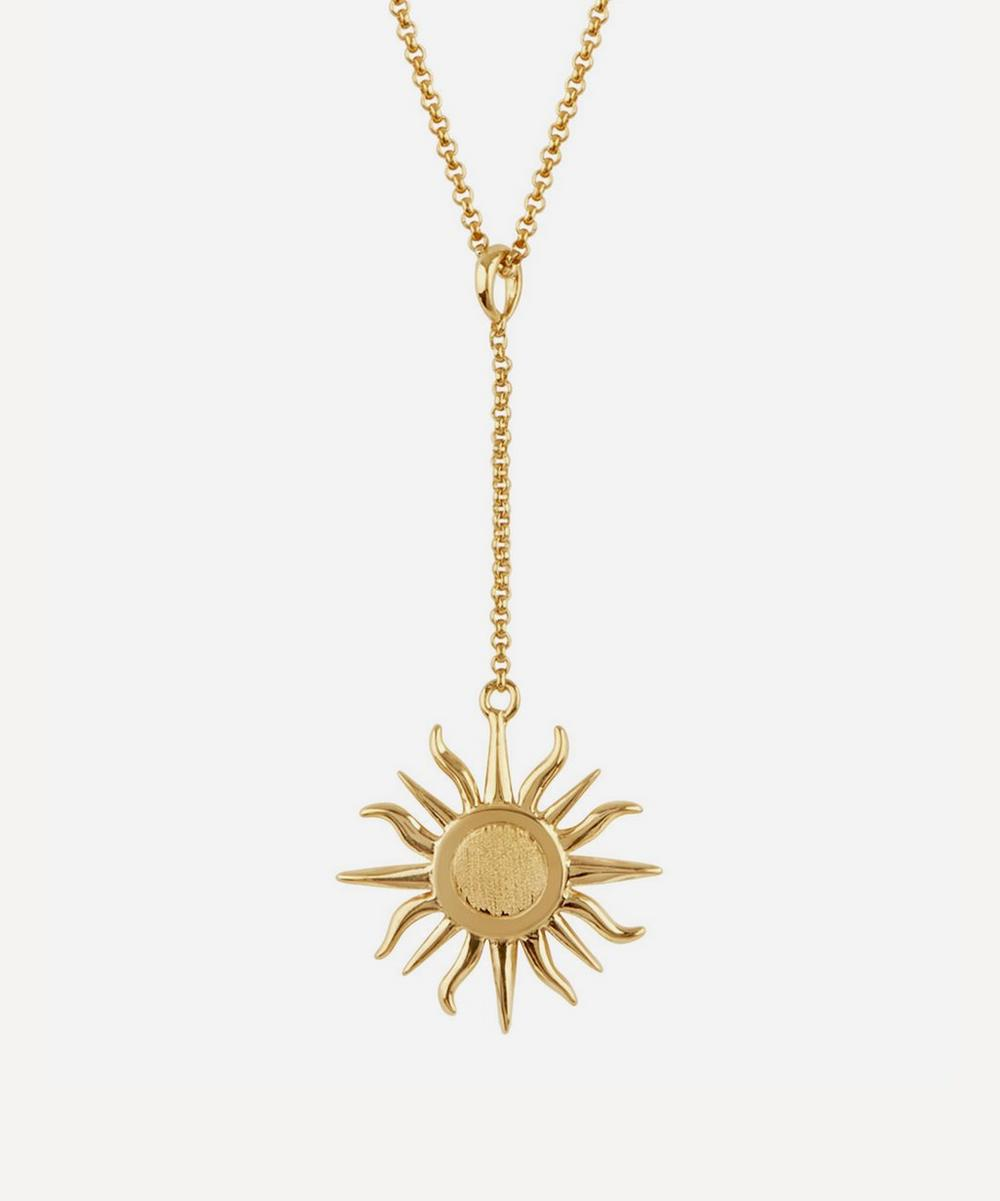 Dinny Hall - Gold Vermeil Sun Charm Pendant Chain Necklace