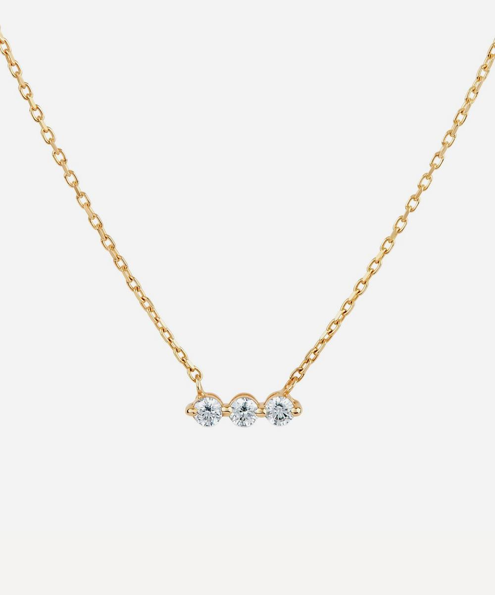Dinny Hall - Gold Shuga Three Stone Diamond Bar Necklace