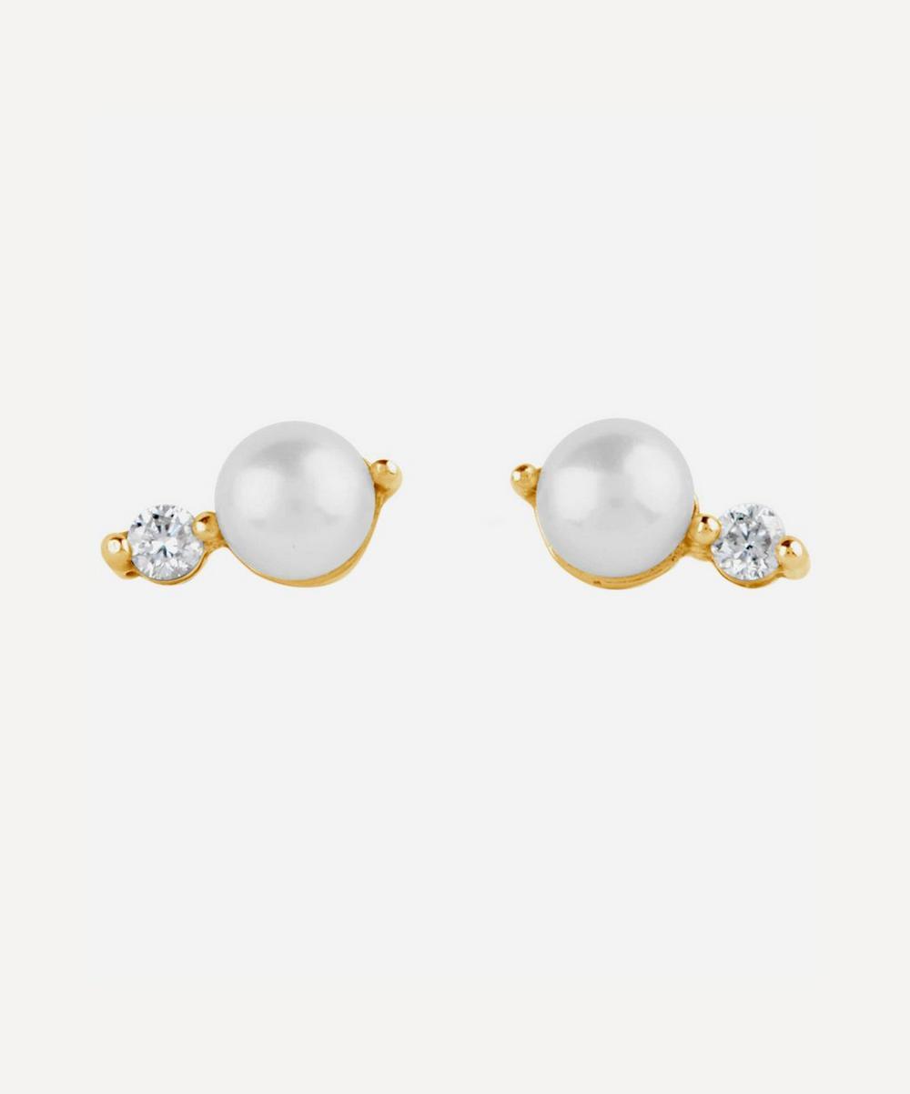 Dinny Hall - Gold Shuga Double Pearl Diamond Stud Earrings