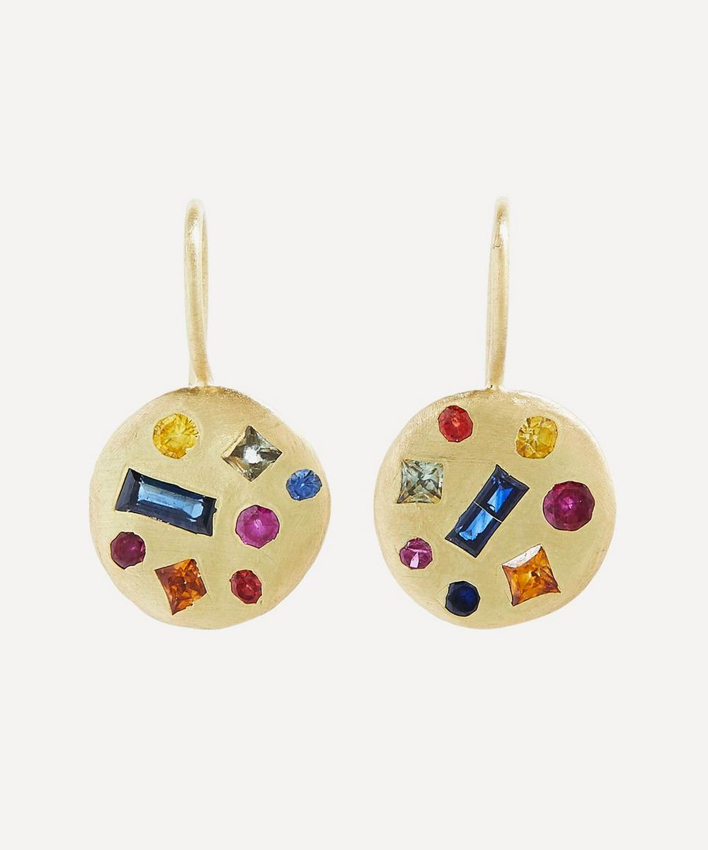 Polly Wales - Gold Celeste Harlequin Sapphire Disc Drop Earrings