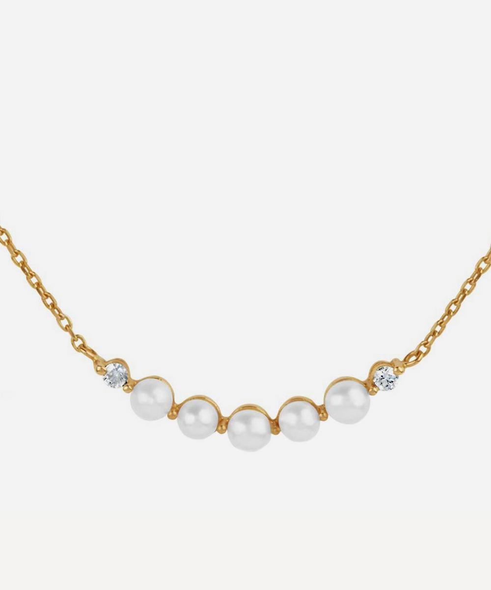 Dinny Hall - Gold Shuga Pearl and Diamond Bar Pendant Necklace