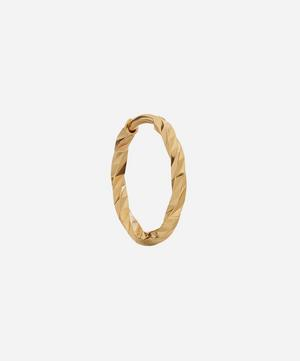 Gold Diamond Cut Huggie Hoop Earring