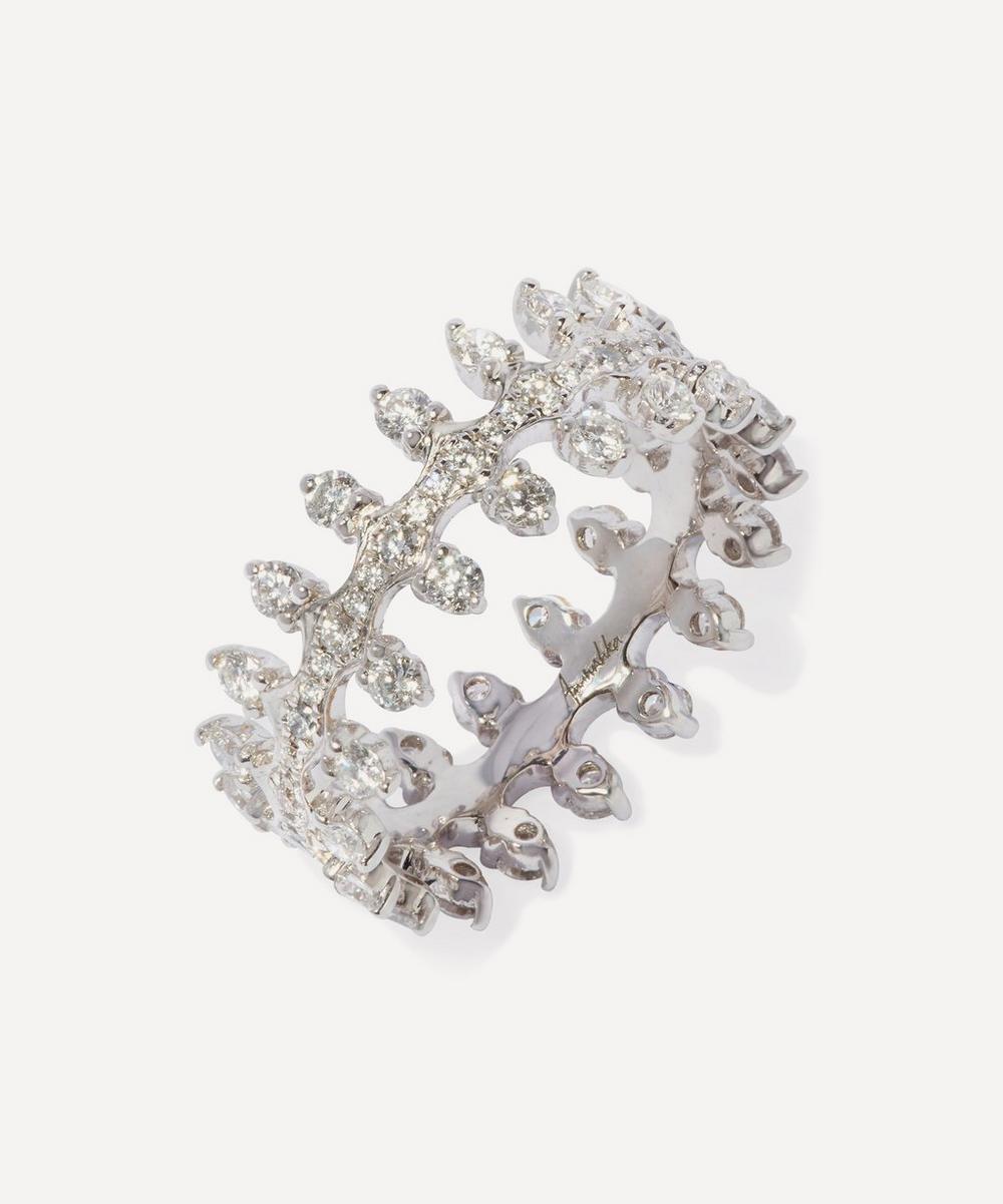 Annoushka - 18ct White Gold Crown Double Diamond Ring