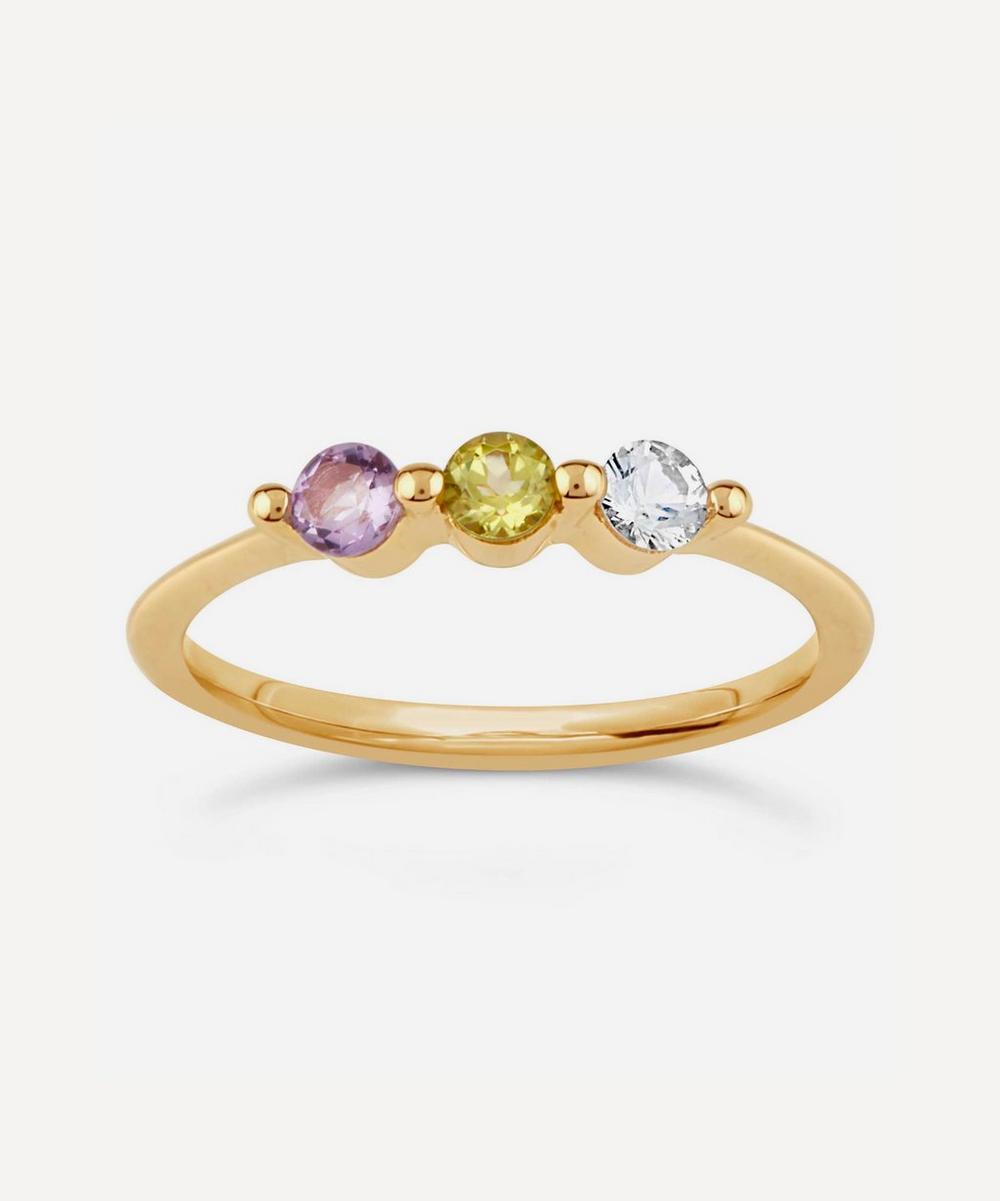 Dinny Hall - Gold Suffragette Gemstone Trio Ring