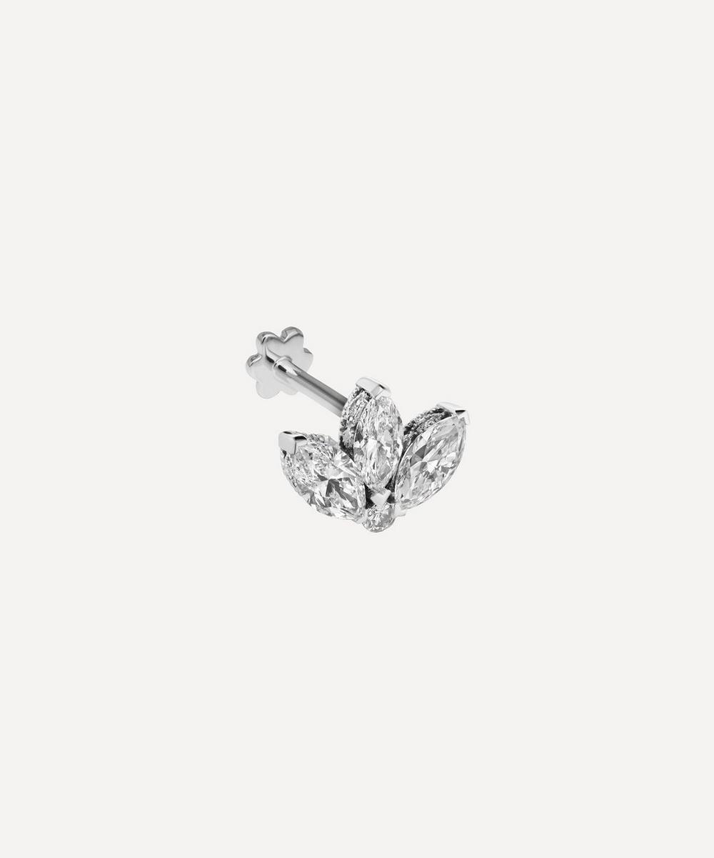 Maria Tash - 3mm Mini Diamond Engraved Lotus Threaded Stud Earring