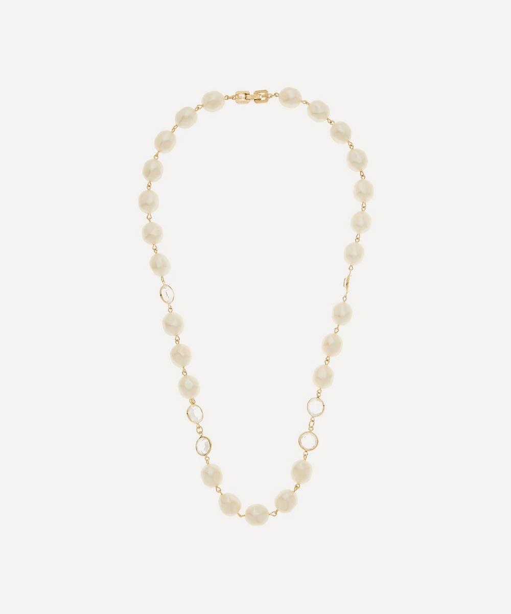 Susan Caplan Vintage - Gold-Plated Givenchy Crystal and Faux Pearl Necklace