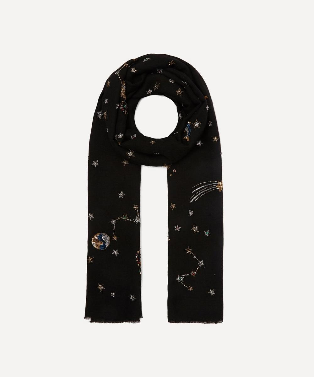 Janavi India - Embroidered Midnight Fantasy Cashmere Scarf