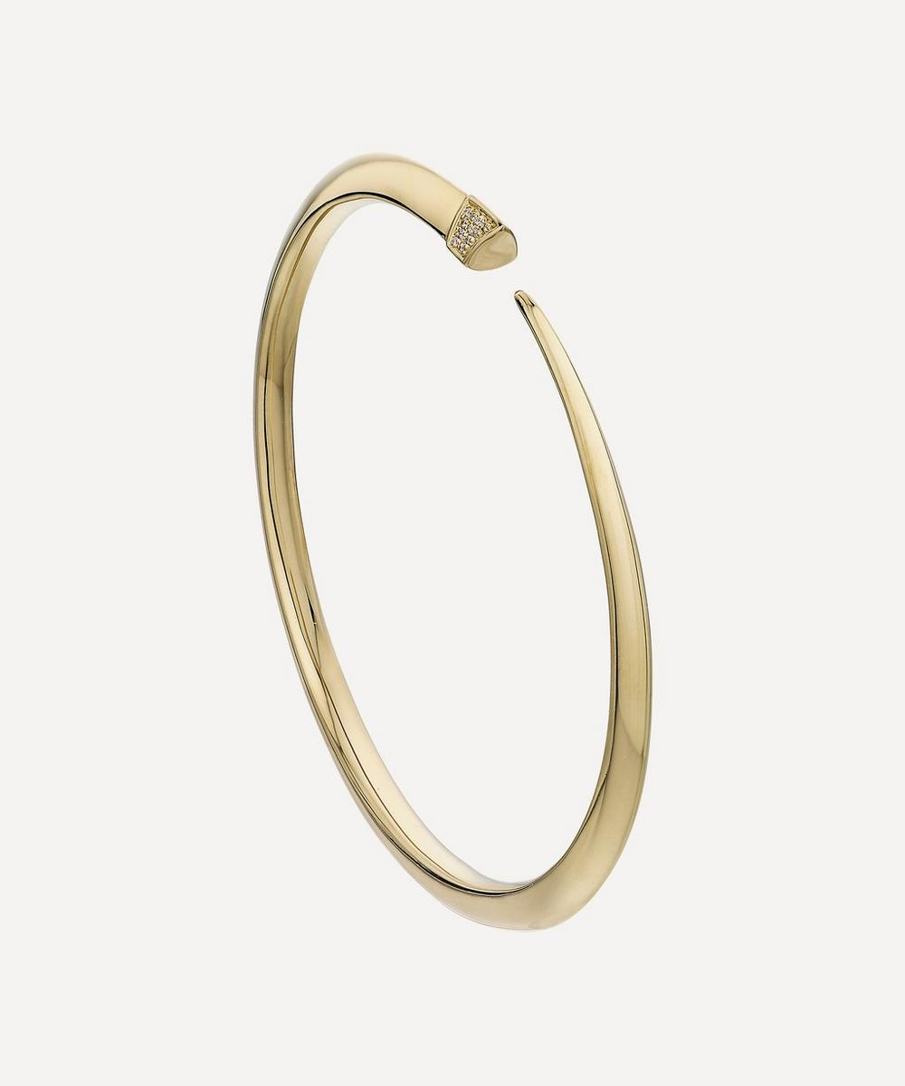Shaun Leane - Gold Plated Vermeil Silver Diamond Slim Tusk Bangle
