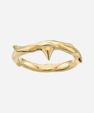Gold Plated Vermeil Silver Rose Thorn Band Ring