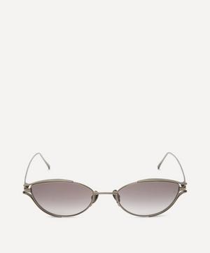 Nickel-Plated Slim Oval Sunglasses