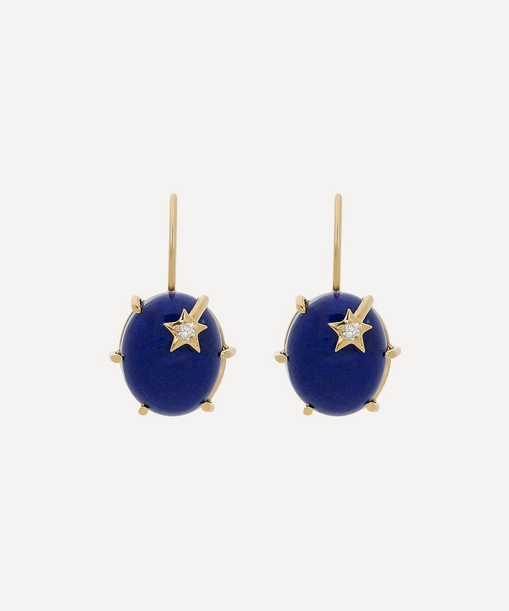 Andrea Fohrman - Gold Mini Galaxy Lapis Lazuli Diamond Star Earrings