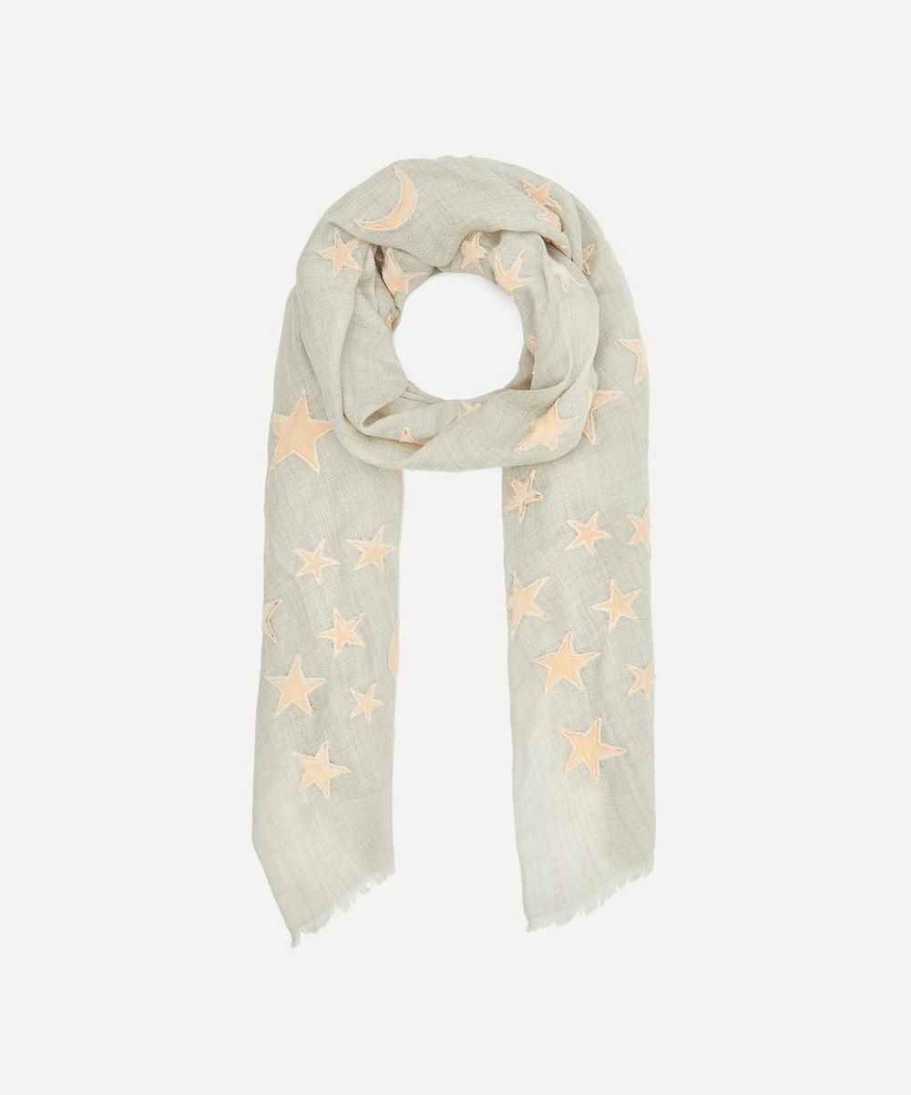 Lily and Lionel - Appliqué Velvet Moon and Star Wool-Blend Scarf