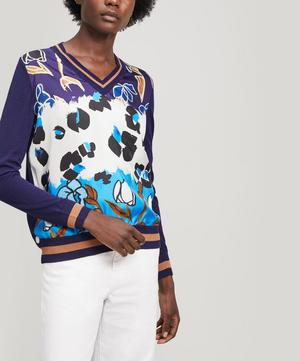 Painted Floral Print Wool and Silk Sweater
