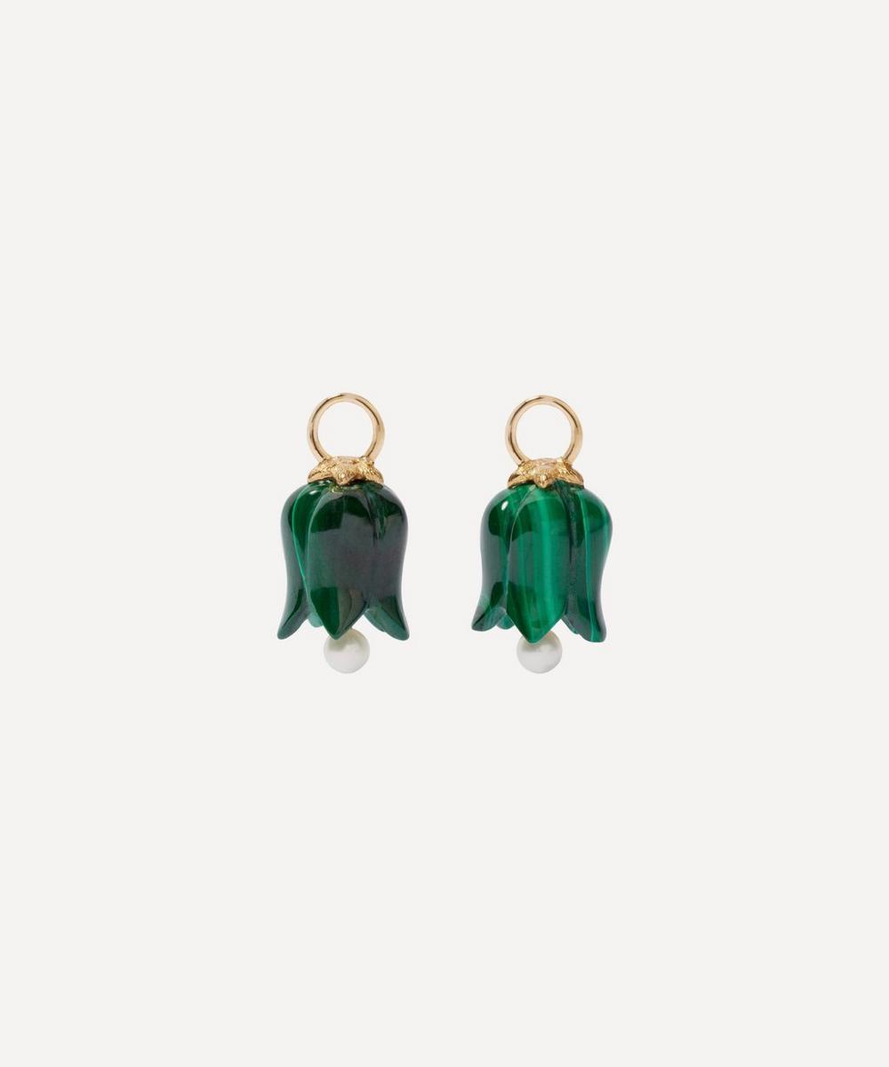 Annoushka - 18ct Gold Malachite and Pearl Tulip Earring Drops