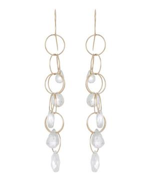 Gold White Topaz Five Drop Earrings