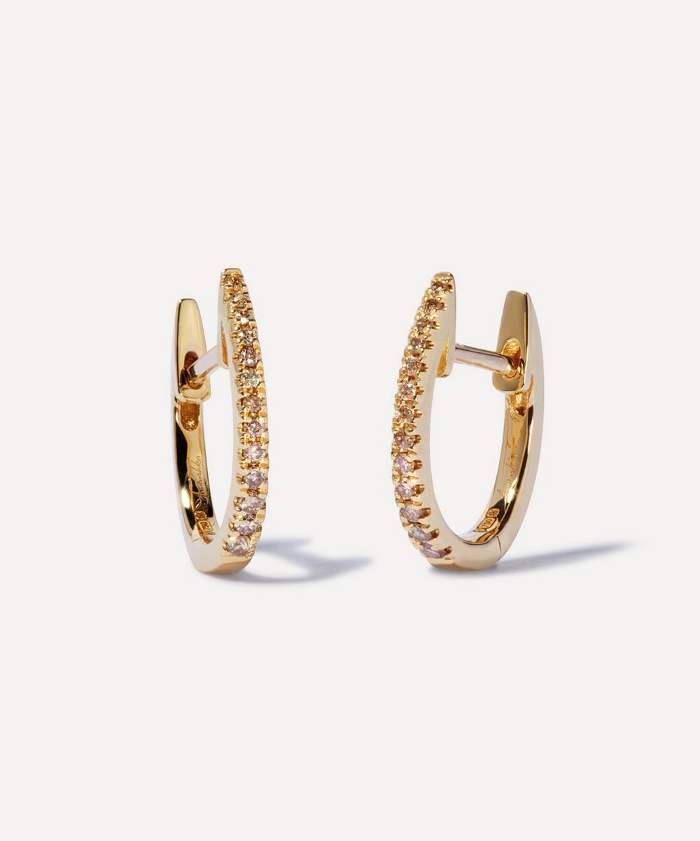 Annoushka - 18ct Gold Eclipse Brown Diamond Fine Hoop Earrings