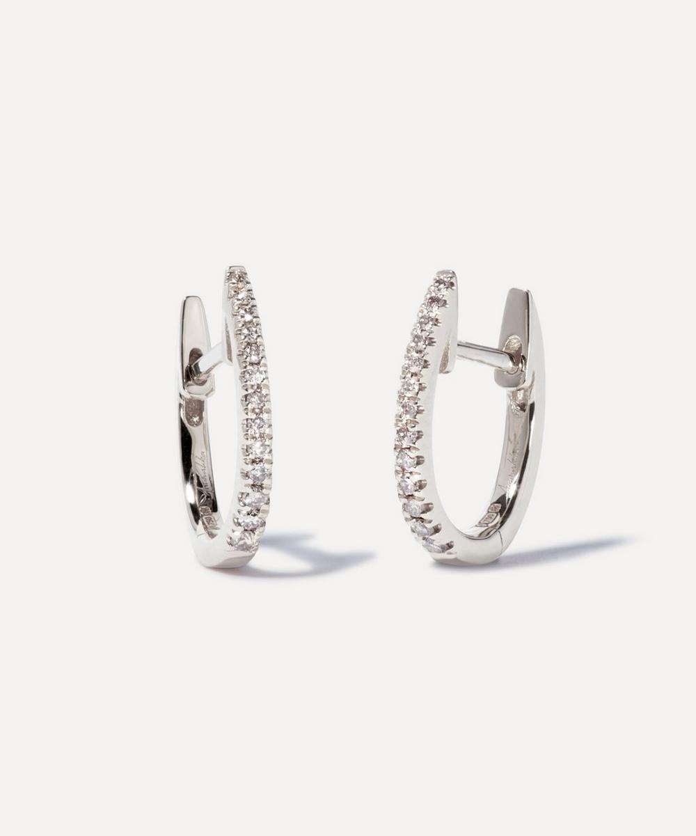 Annoushka - 18ct White Gold Eclipse Diamond Fine Hoop Earrings