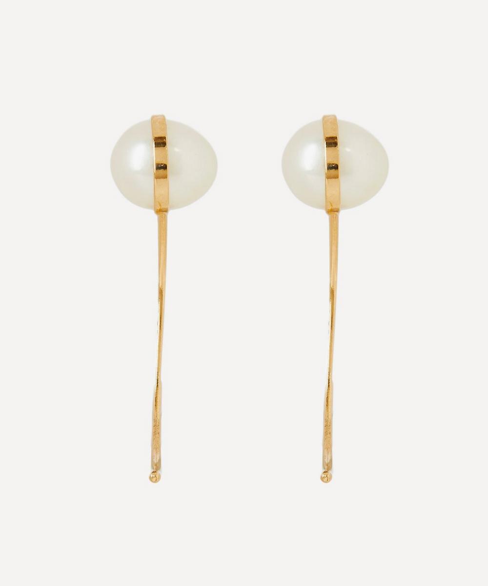 Melissa Joy Manning - Gold Pearl Swoop Drop Earrings