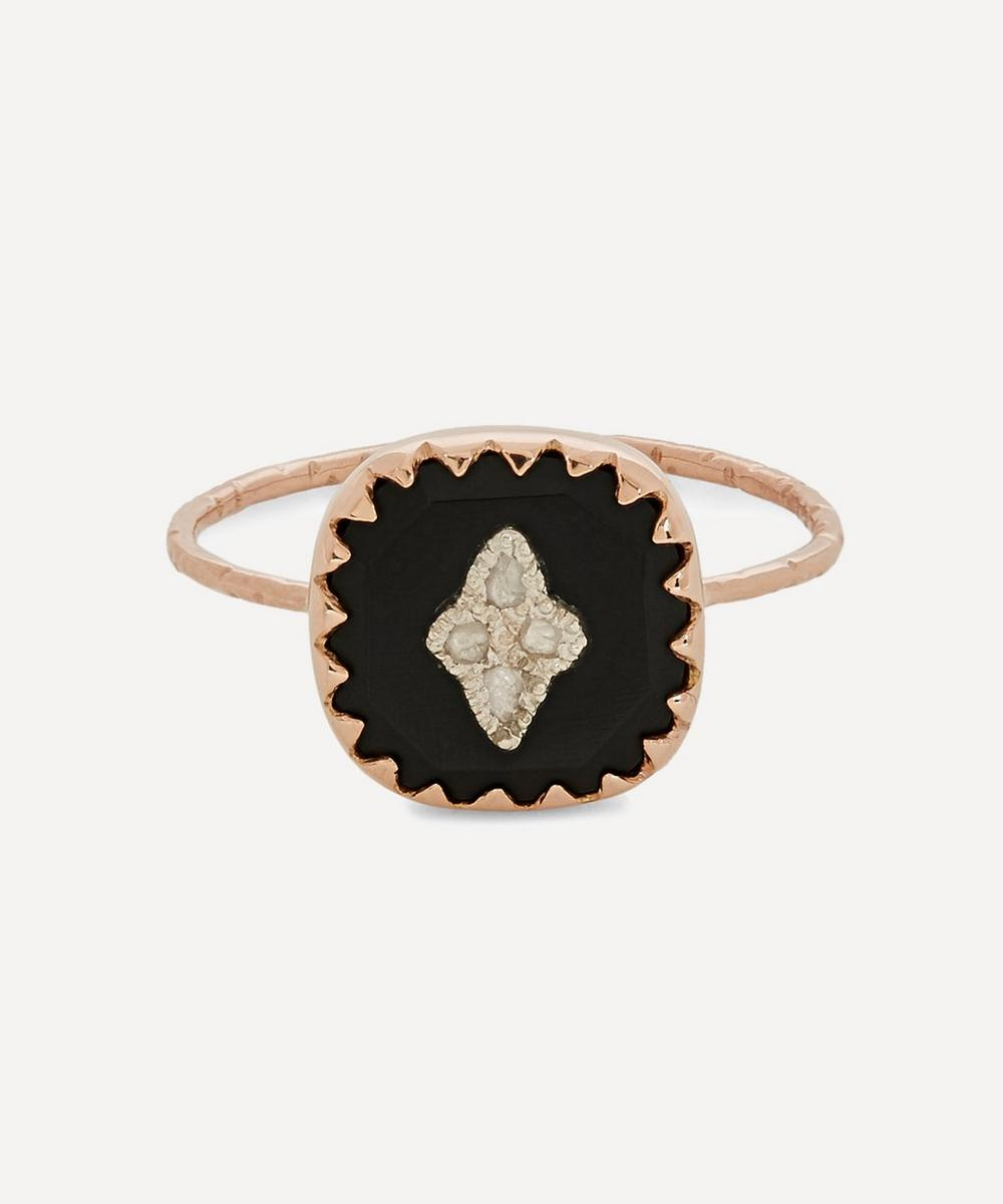 Pascale Monvoisin - Rose Gold Pierrot Diamond and Bakelite Ring