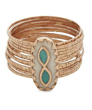 Rose Gold Bowie N°1 Turquoise and Bakelite Multi-Band Ring