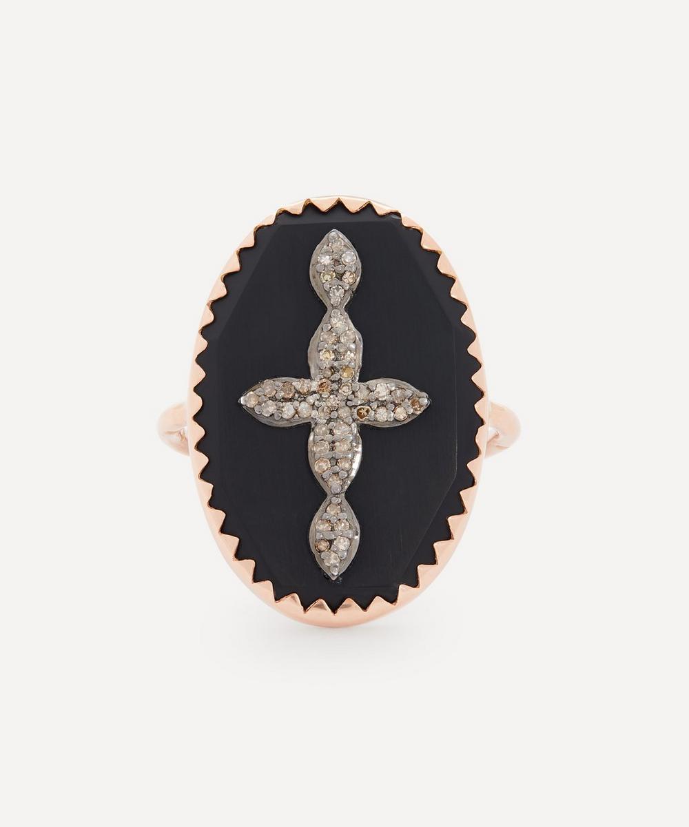 Pascale Monvoisin - Rose Gold Bowie N°3 Diamond and Bakelite Cross Ring