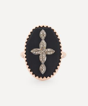 Rose Gold Bowie N°3 Diamond and Bakelite Cross Ring