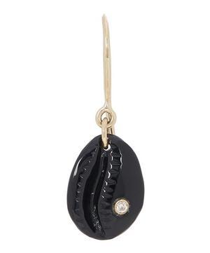 Gold Cauri N°2 Diamond and Onyx Shell Drop Earring