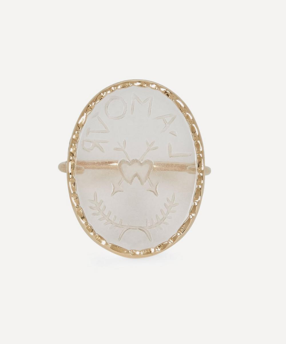 Pascale Monvoisin - Gold L'Amour Engraved Crystal Ring